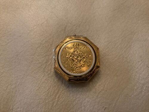 TIFFANY & CO. Antique 14k Yellow Gold Pill Box Mirror Pendant Circa 1900s Rare