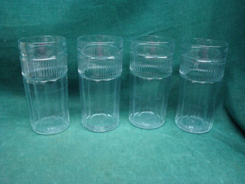 Vtg Anchor Hocking Vertical Ribbed Anapolis heavy Glass Tumblers-set of 4