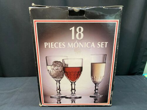 Set of 18 ~ Monica Stemware Set ~ Portugal ~ (6) Wine, (6) Goblet, (6) Flute