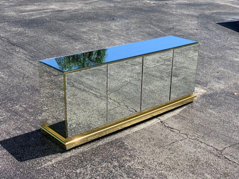70's Vintage Mid Century Modern Ello Mirror Brass Buffet Credenza