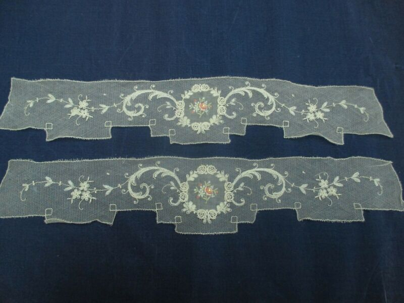 Antique Victorian lace floral appliques set of 2