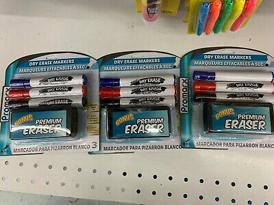 Promarx White Board Marker 3 Color Dry Erase Markers Weraser 3 Packs