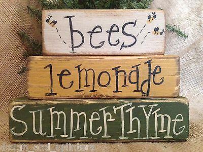 Primitive Bees Lemonade Summer Thyme Conversation Wood Shelf Sitter Block Set