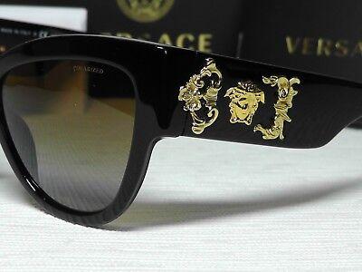 VersaceMOD 4322 Rock Icons Cat Eye Shiny Black/Gold Frame 55 17 140 Sunglasses.