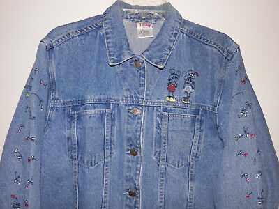 Disney Store Vintage Womens Mickie Minnie Mouse Denim Jean Jacket Size M