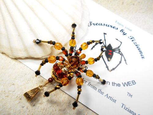 TreasuresbyTiziana® Swarovski Topaz November Birthstone Spider Pendant Charm