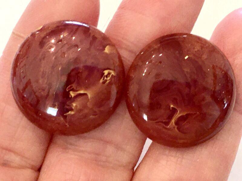 Vintage Art Deco Round Marbled Topaz Brown Bakelite (tested) Screw Back Earrings
