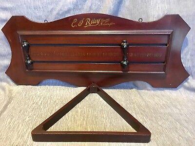 EJ Riley Vintage 1930s Snooker Billiards Mahogany/Ebony Score Board and Triangle