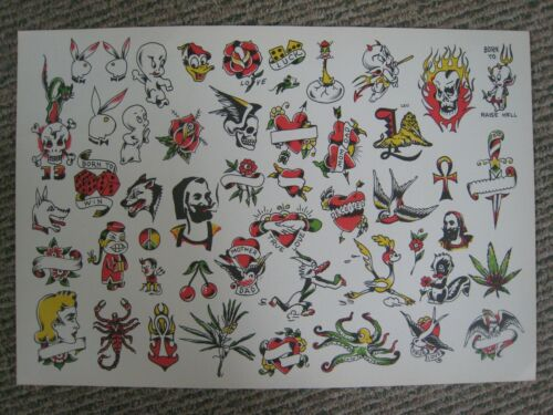 Large Vintage tattoo flash Milton Zeis Color Prod., C 1960  21 x 14.5 in. nice