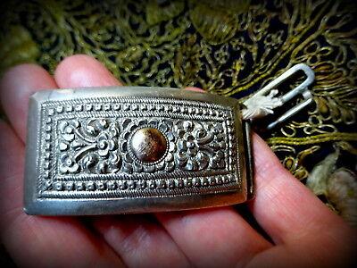 Antique India Burma Silver Repouse Buckle