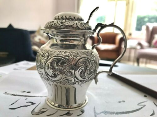 Late Victorian Silver Mustard Pot Embossed Decoration By Charles Edwards London