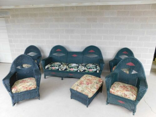 Vintage Hollywood Regency Style Wicker Sofa Chairs & Ottoman - 6pc Set