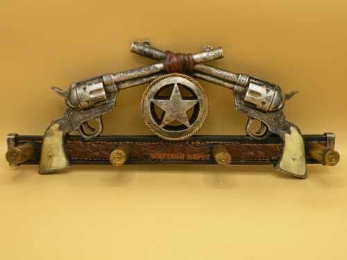 WESTERN COLT PISTOLS WALL HOOKS   DECOR NEW