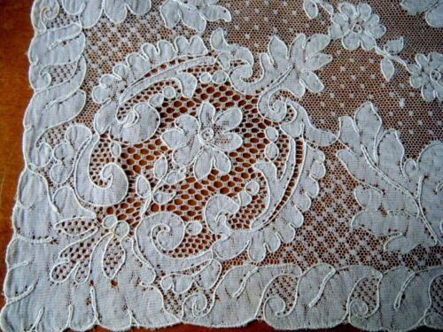 "Antique Alencon lace dresser runner rectangular shape  23""x14""  Euroipe"