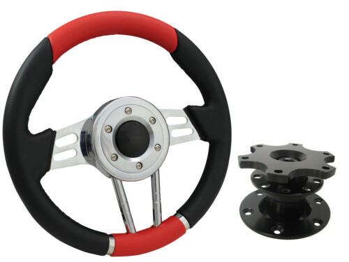 QUICK RELEASE RED V2 SPORTS STEERING WHEEL 310mm 6x70mm,