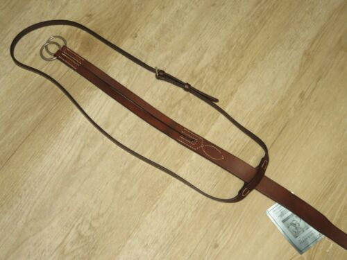 NWT High Quality LEMETEX Brown Flat Leather English Running Martingale HORSE SZ