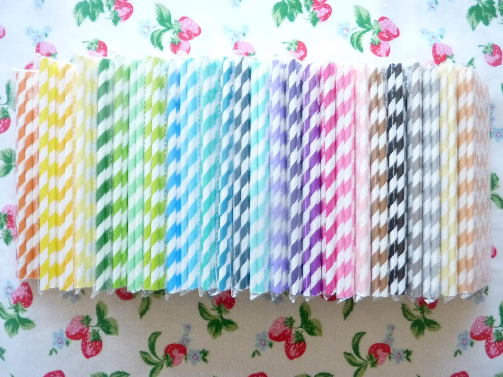 25/50/75/100 x Stripe Chevron Wedding Paper Straws Birthday Cake Pop  *UK*
