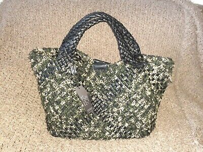 FALOR-FALORNI Firenze ITALY Woven Leather and Wool F2441 Green Black Beige-NWT