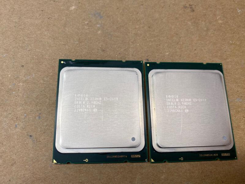 Matched Pair of Intel Xeon E5-2690 8 Core 2.9GHz SR0L0 LGA 2011 Processor CPUs