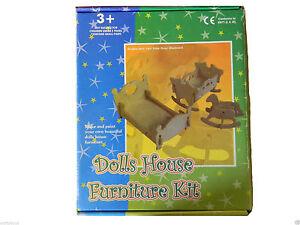 Make and decorate  slot together wooden dolls' house furniture kit
