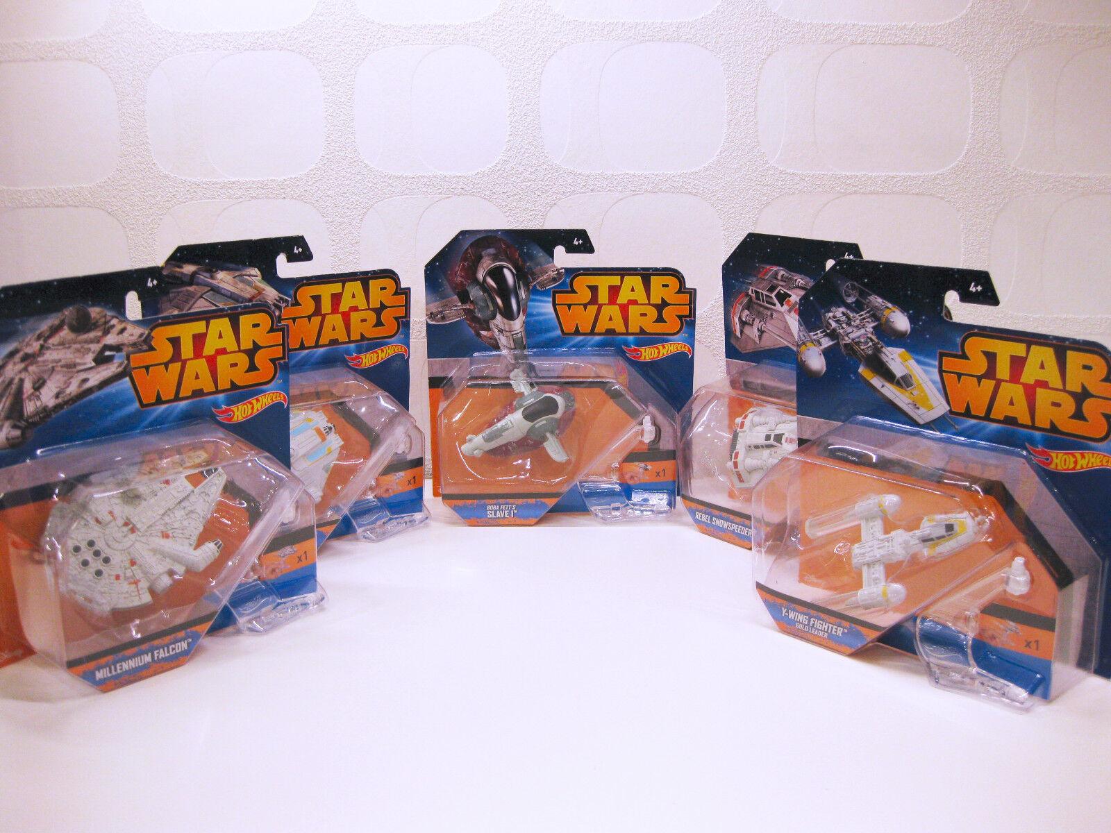 Star Wars - 5x Miniatur Raumschiffe (Falcon Slave 1 Snowspeeder Y-Wing Ghost)