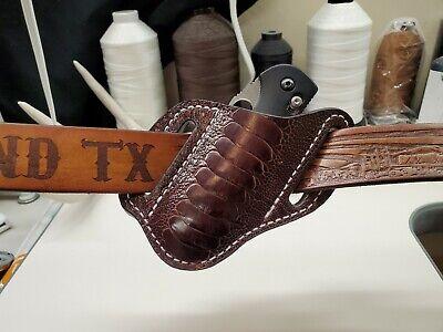 Ostrich Leg Skin Knife Sheath For Large Folding Knives- Chocolate Ostrich Leg Skins