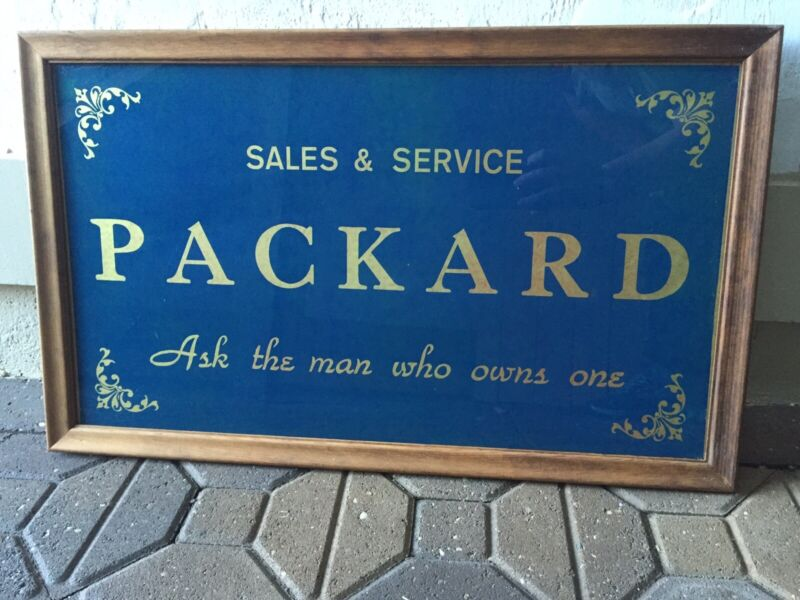 RARE ORIG 1931 PACKARD SIGN REVERSE PAINTED GLASS OIL GAS AUTOMOBILE ADVERTISING