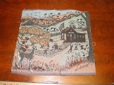 (Old Country School House Cows Deer Apple Trees Tapestry Pillow Top Fabric Piece)