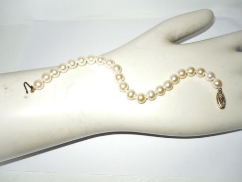 """Classic 14K Y. Gold Cultured 7mm Pearl Bracelet 7"""" Wearable Length New No Tags"""