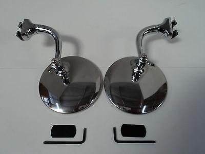 "4"" Stainless Pair Universal Peep Mirrors  Door Edge Chrome Drip Rail Hdwr Includ"