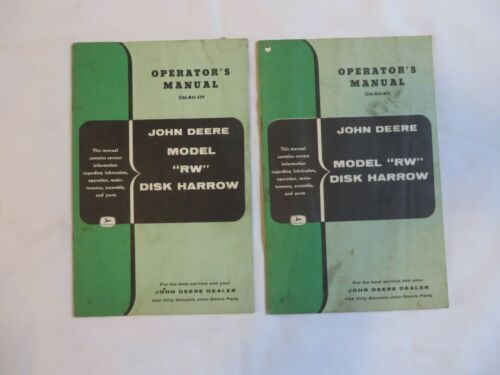 Vintage Manual John Deere Row Model RW Disk Harrow Lot of 2