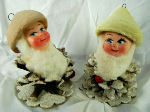 """Antique Incredible Pair Pinecone Elves  """"MADE IN ITALA"""" - Pre 1946? Outstanding"""