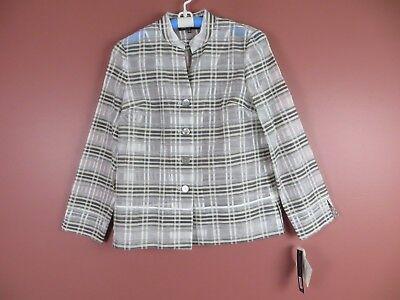 TB04711- NWT JONES NEW YORK Womens Linen Tencel Blouse Multi-Color Plaids 6 $139