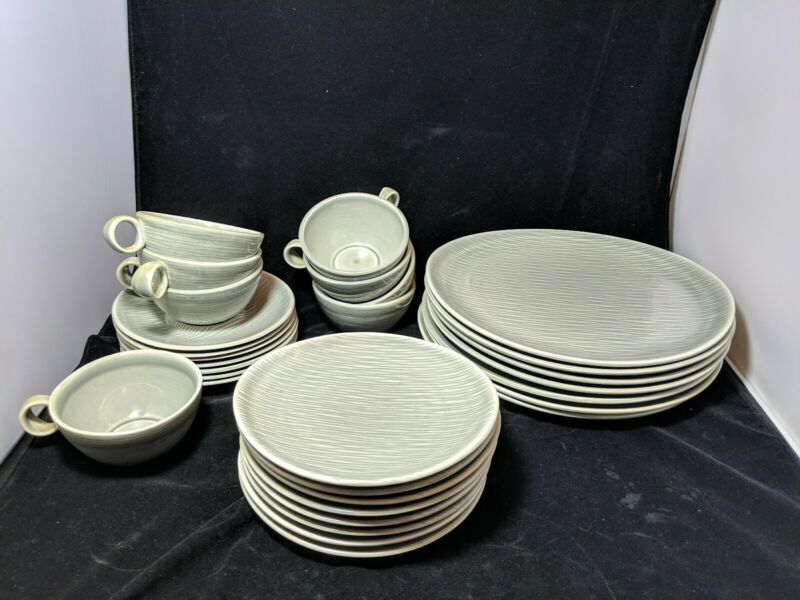 Raymor Contempora by Steubenville Mist Gray Cup saucers, dinner or bread plates