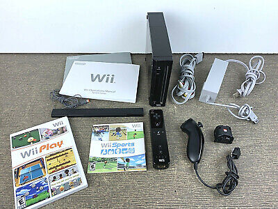 Nintendo Wii RVL-101 Black Video Game System Console Bundle