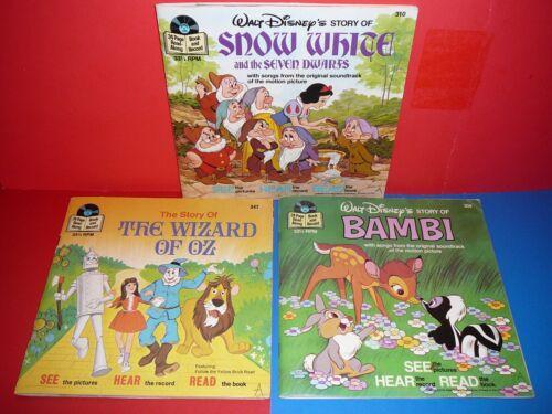 Lot of 3 Disney Storybook Records * Bambi; Wizard of Oz; Snow White