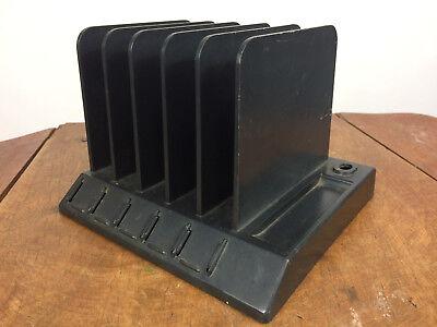 Vintage Mid Century Black Desk Letter Organizer Paper File Tray Retro Atomic