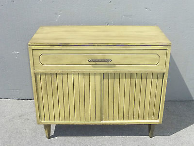 Vintage Mid Century Green Console Storage CABINET Two Doors Open Space 1 Drawer