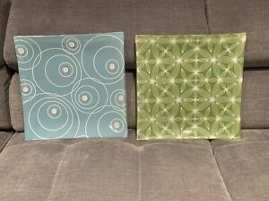 2 glass plates. Accent or useable. Green + blue. Excellent cond.