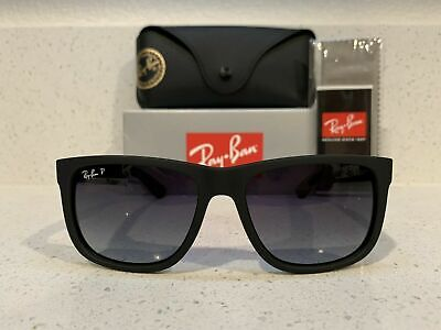 Ray-Ban Classic Justin Black Frame W/ Gray Gradient Polarized Lens RB4165 55mm