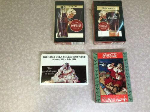 LOT OF 4 DECKS OF VINTAGE COCA-COLA THEMED PLAYING CARDS. NEW IN PACKAGE.