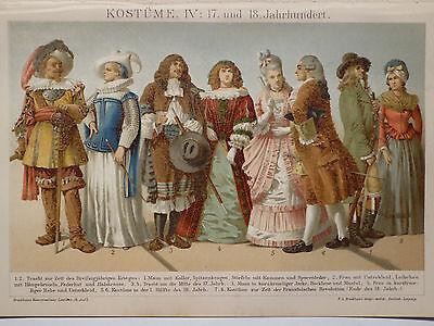 Lithographie, Kostüme IV, 18. Jhd. Mode, Kulturgeschichte, Brockhaus 1901-1905