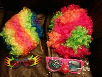 Colorful Clown wigs, crazy glasses and colorful floral leis 1 kid & 1 adult - Kids Clown Wigs