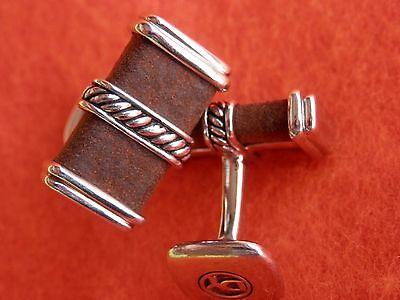 David Yurman Sterling Silver Elegant Cable Cufflinks w/Brown -