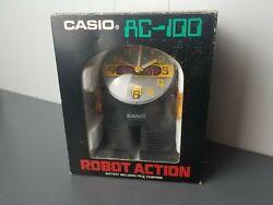 Vintage Casio AC-100 Robot Alarm Clock 1980's Yellow Made in Japan (Description)