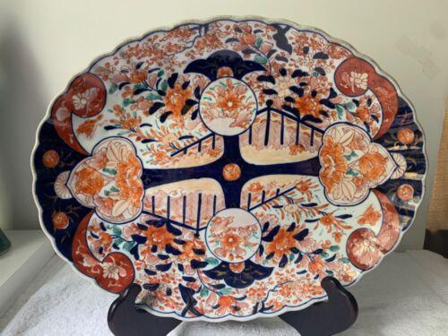 19th Century Antique Japanese Imari Scalloped Oval Deep Large Platter