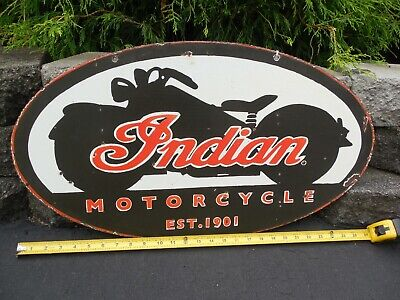 Vintage Indian motorcycle porcelain steel sign