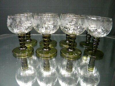 Etched German Rhine Roemer Olive Green Wine Goblets SET OF 6