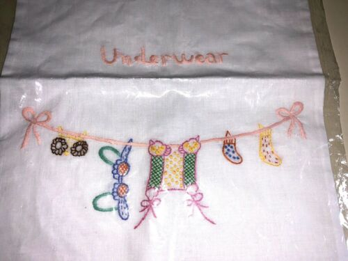 """CUTE VINTAGE WHITE FEEDSACK Underwear LAUNDRY BAG Embroidered """"Linen"""" Drawstring"""