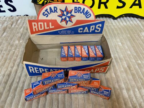 VINTAGE STAR BRAND DISPLAY BOX & CAP BOXES, 15 FULL BOXES & COUNTER TOP BOX